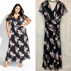 City Chic floral print maxi dress sacred lotus